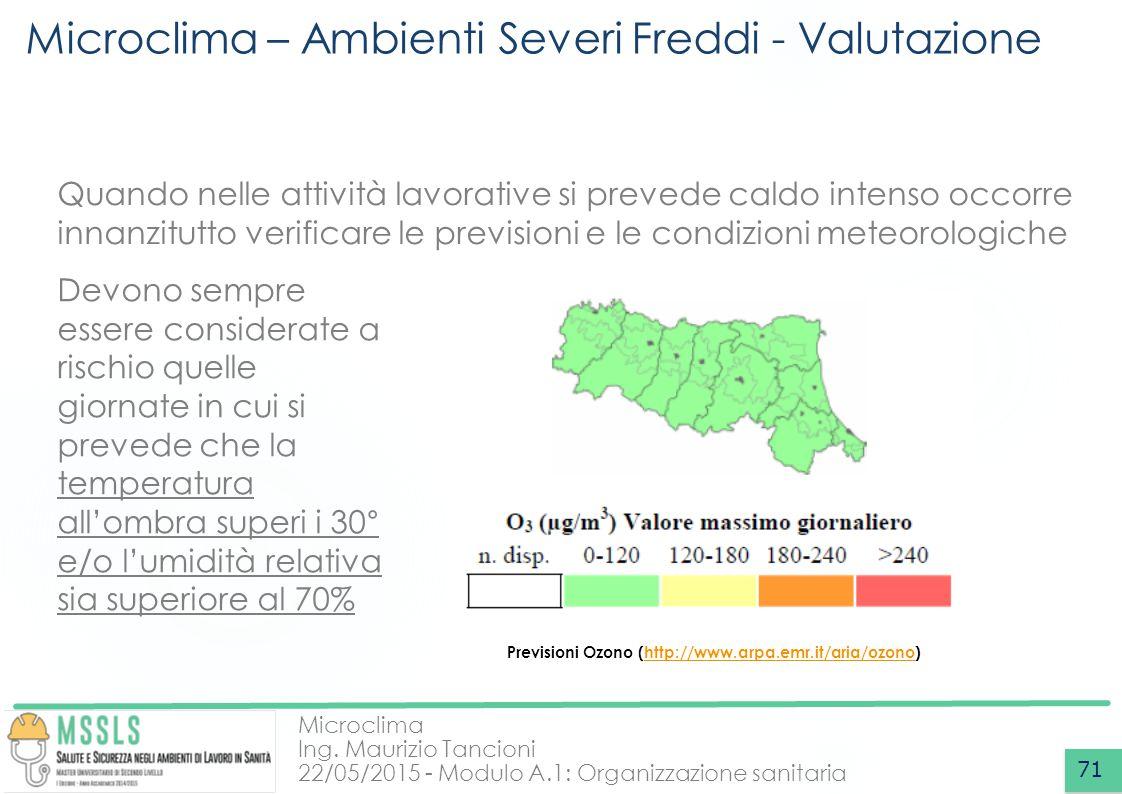 Microclima Ing. Maurizio Tancioni 22/05/2015 - Modulo A.1: Organizzazione sanitaria Microclima – Ambienti Severi Freddi - Valutazione 71 Quando nelle