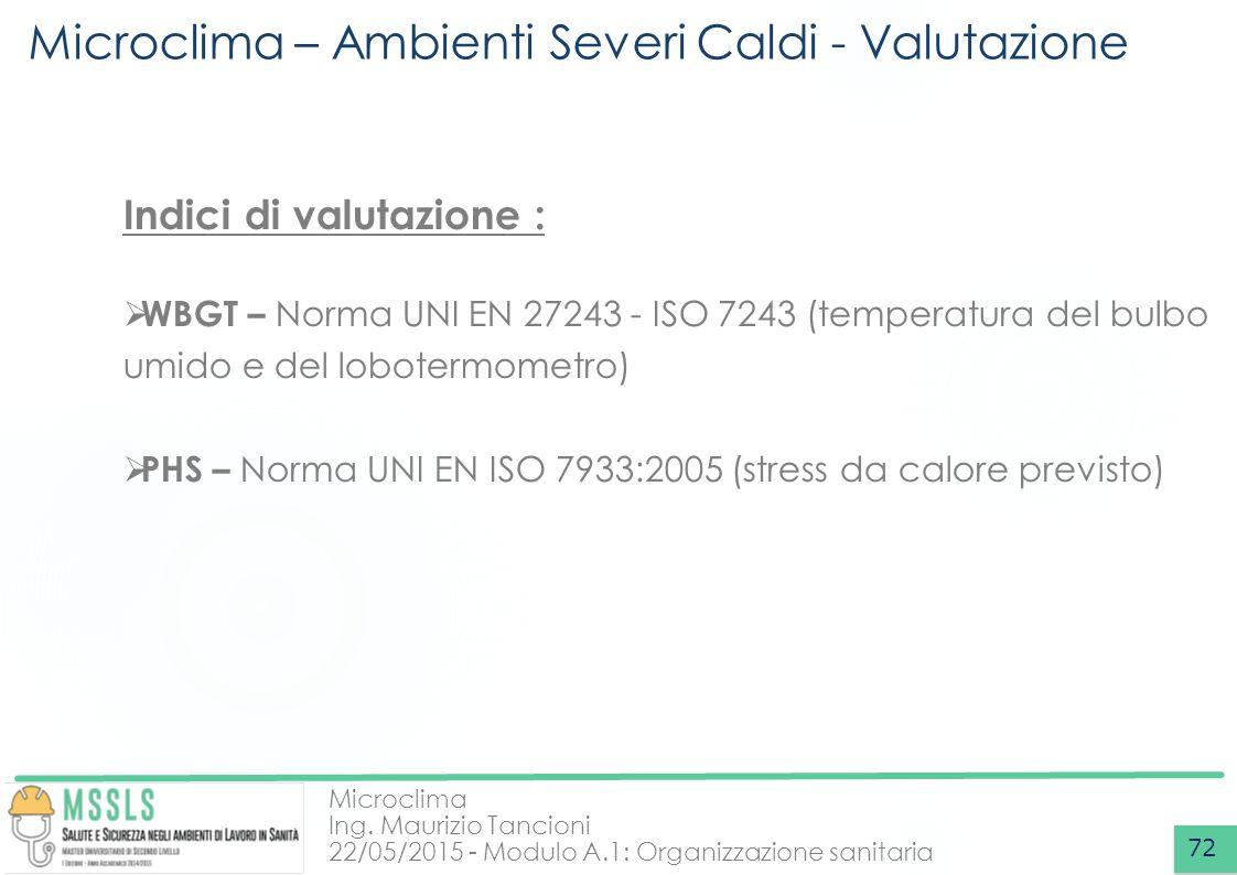 Microclima Ing. Maurizio Tancioni 22/05/2015 - Modulo A.1: Organizzazione sanitaria Microclima – Ambienti Severi Caldi - Valutazione 72 Indici di valu