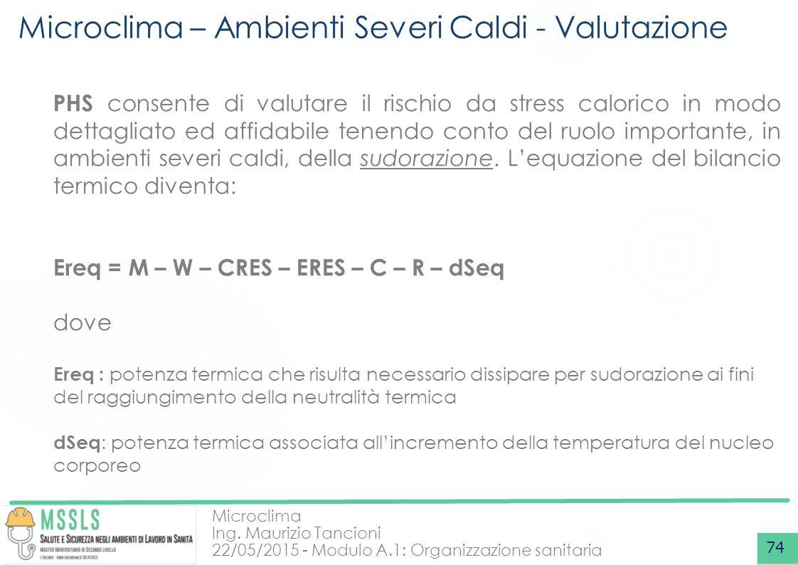 Microclima Ing. Maurizio Tancioni 22/05/2015 - Modulo A.1: Organizzazione sanitaria Microclima – Ambienti Severi Caldi - Valutazione 74 PHS consente d
