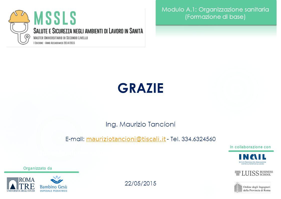 Organizzato da In collaborazione con Modulo A.1: Organizzazione sanitaria (Formazione di base) Docente: nome cognome GRAZIE 22/05/2015 Ing. Maurizio T