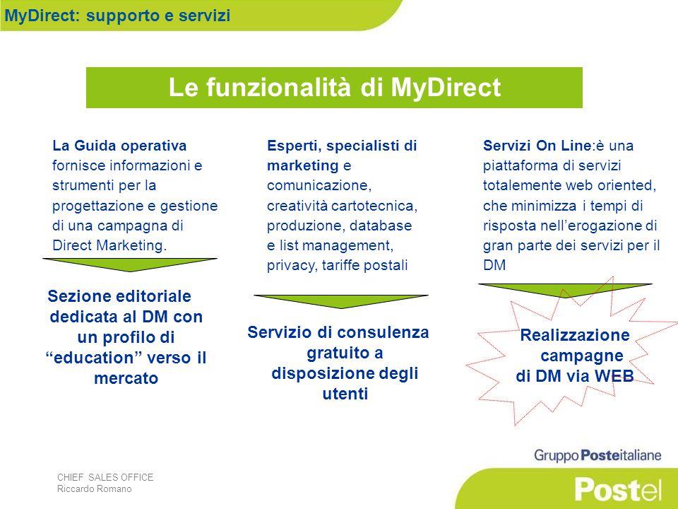 CHIEF SALES OFFICE Riccardo Romano La Guida operativa fornisce informazioni e strumenti per la progettazione e gestione di una campagna di Direct Mark