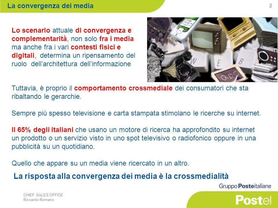 CHIEF SALES OFFICE Riccardo Romano 2 Lo scenario attuale di convergenza e complementarità, non solo fra i media ma anche fra i vari contesti fisici e