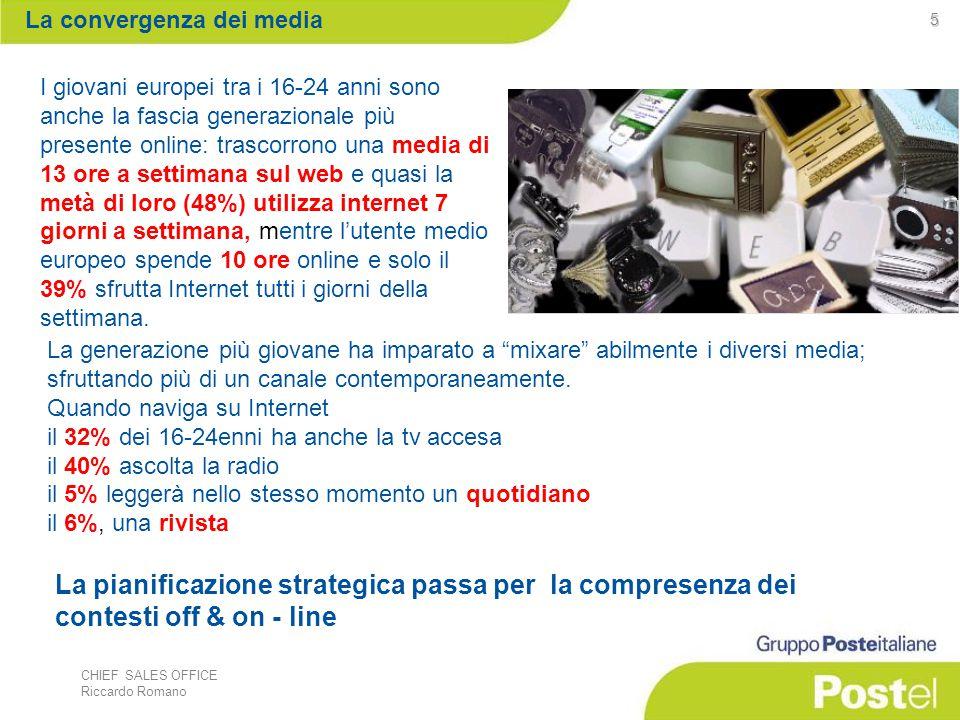 CHIEF SALES OFFICE Riccardo Romano 5 I giovani europei tra i 16-24 anni sono anche la fascia generazionale più presente online: trascorrono una media