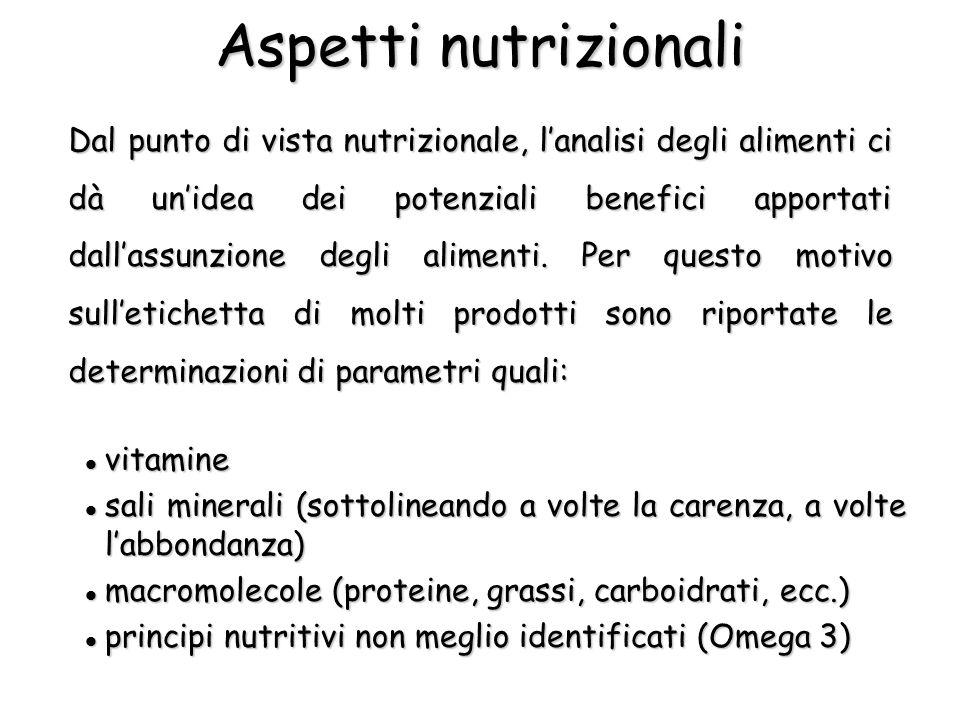 Aspetti nutrizionali Dal punto di vista nutrizionale, l'analisi degli alimenti ci dà un'idea dei potenziali benefici apportati dall'assunzione degli a