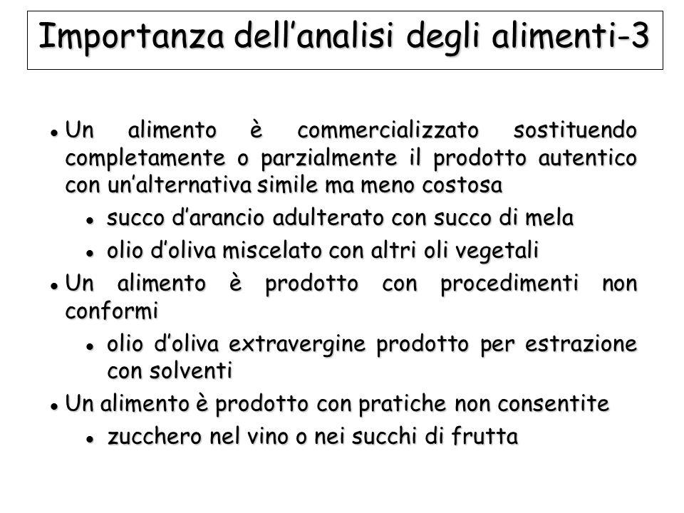 Importanza dell'analisi degli alimenti-3 Un alimento è commercializzato sostituendo completamente o parzialmente il prodotto autentico con un'alternat