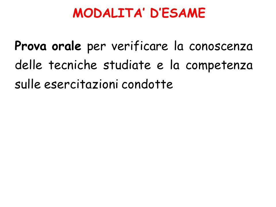 MODALITA' D'ESAME Prova orale per verificare la conoscenza delle tecniche studiate e la competenza sulle esercitazioni condotte