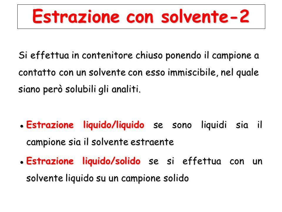 Estrazione con solvente-2 Estrazione liquido/liquido se sono liquidi sia il campione sia il solvente estraente Estrazione liquido/liquido se sono liqu