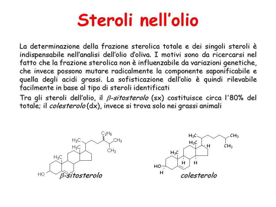 La determinazione della frazione sterolica totale e dei singoli steroli è indispensabile nell'analisi dell'olio d'oliva. I motivi sono da ricercarsi n