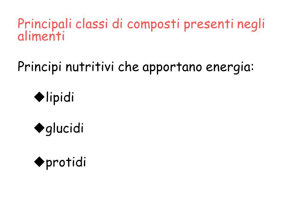 Principali classi di composti presenti negli alimenti Principi nutritivi che apportano energia:  lipidi  glucidi  protidi