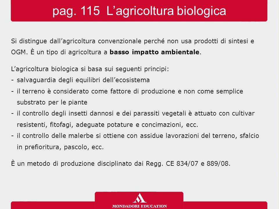 Si distingue dall'agricoltura convenzionale perché non usa prodotti di sintesi e OGM.