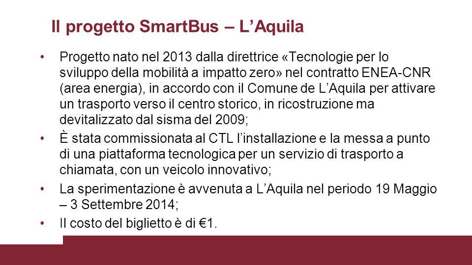 Il progetto SmartBus – L'Aquila Progetto nato nel 2013 dalla direttrice «Tecnologie per lo sviluppo della mobilità a impatto zero» nel contratto ENEA-CNR (area energia), in accordo con il Comune de L'Aquila per attivare un trasporto verso il centro storico, in ricostruzione ma devitalizzato dal sisma del 2009; È stata commissionata al CTL l'installazione e la messa a punto di una piattaforma tecnologica per un servizio di trasporto a chiamata, con un veicolo innovativo; La sperimentazione è avvenuta a L'Aquila nel periodo 19 Maggio – 3 Settembre 2014; Il costo del biglietto è di €1.