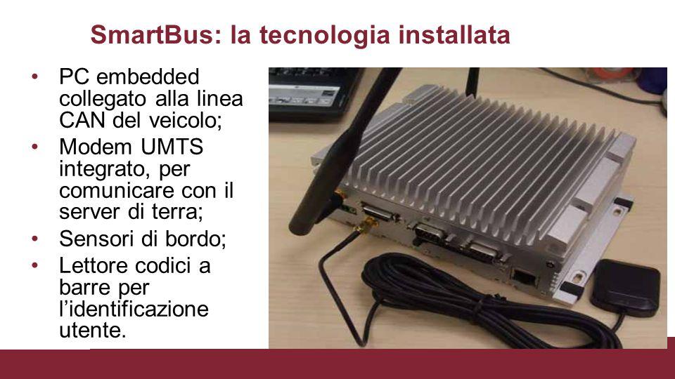 SmartBus: la tecnologia installata PC embedded collegato alla linea CAN del veicolo; Modem UMTS integrato, per comunicare con il server di terra; Sensori di bordo; Lettore codici a barre per l'identificazione utente.