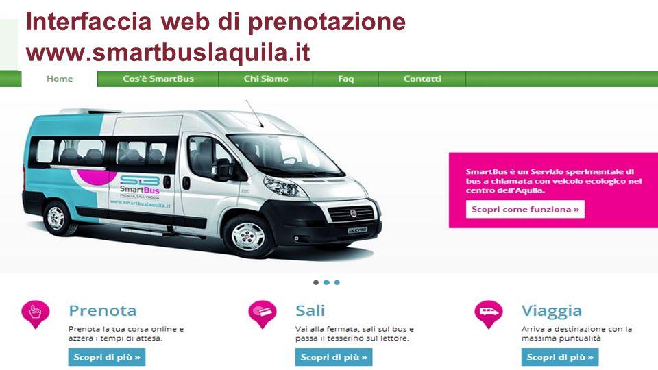 Interfaccia web di prenotazione www.smartbuslaquila.it