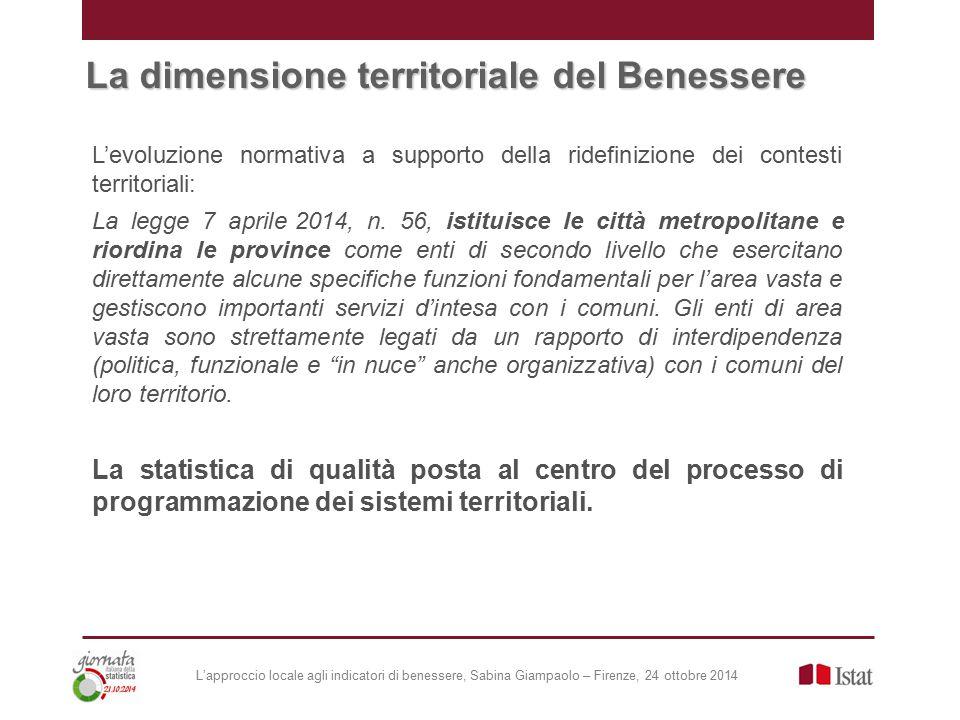 L'approccio locale agli indicatori di benessere, Sabina Giampaolo – Firenze, 24 ottobre 2014 La legge 7 aprile 2014, n.