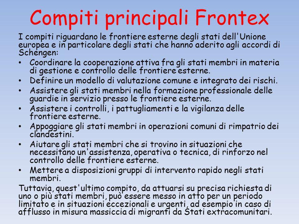 Compiti principali Frontex I compiti riguardano le frontiere esterne degli stati dell Unione europea e in particolare degli stati che hanno aderito agli accordi di Schengen: Coordinare la cooperazione attiva fra gli stati membri in materia di gestione e controllo delle frontiere esterne.