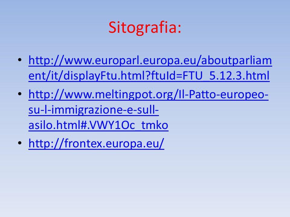 Sitografia: http://www.europarl.europa.eu/aboutparliam ent/it/displayFtu.html?ftuId=FTU_5.12.3.html http://www.europarl.europa.eu/aboutparliam ent/it/displayFtu.html?ftuId=FTU_5.12.3.html http://www.meltingpot.org/Il-Patto-europeo- su-l-immigrazione-e-sull- asilo.html#.VWY1Oc_tmko http://www.meltingpot.org/Il-Patto-europeo- su-l-immigrazione-e-sull- asilo.html#.VWY1Oc_tmko http://frontex.europa.eu/