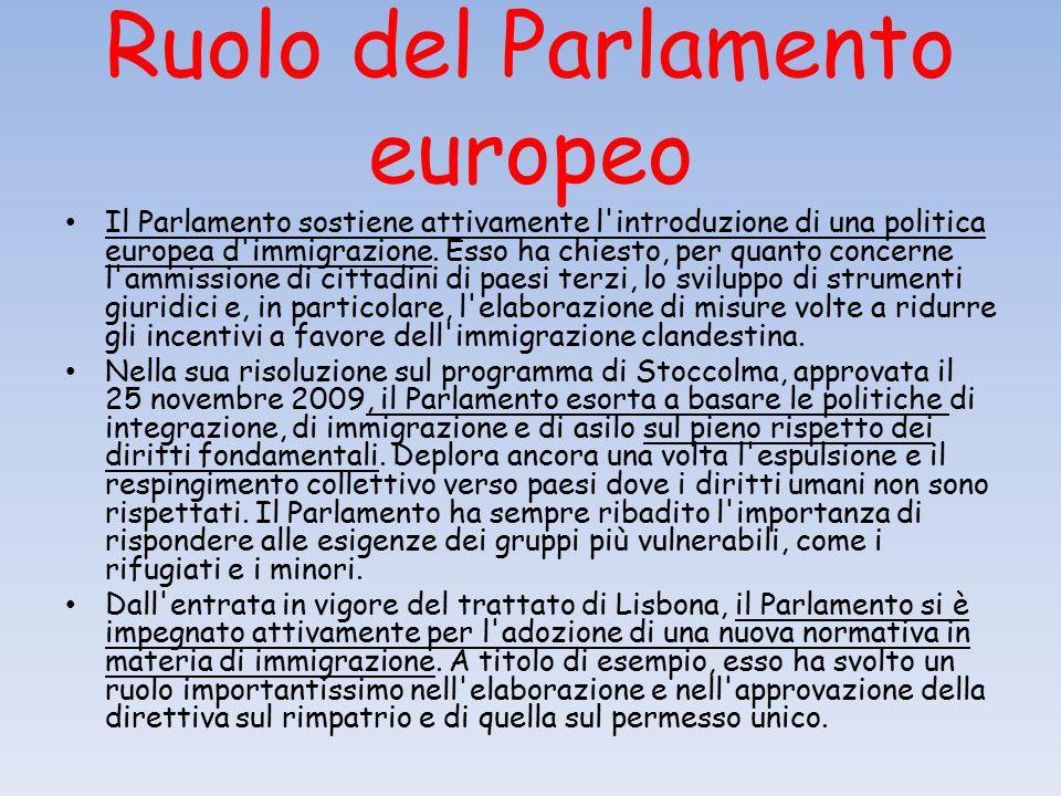 Ruolo del Parlamento europeo Il Parlamento sostiene attivamente l introduzione di una politica europea d immigrazione.