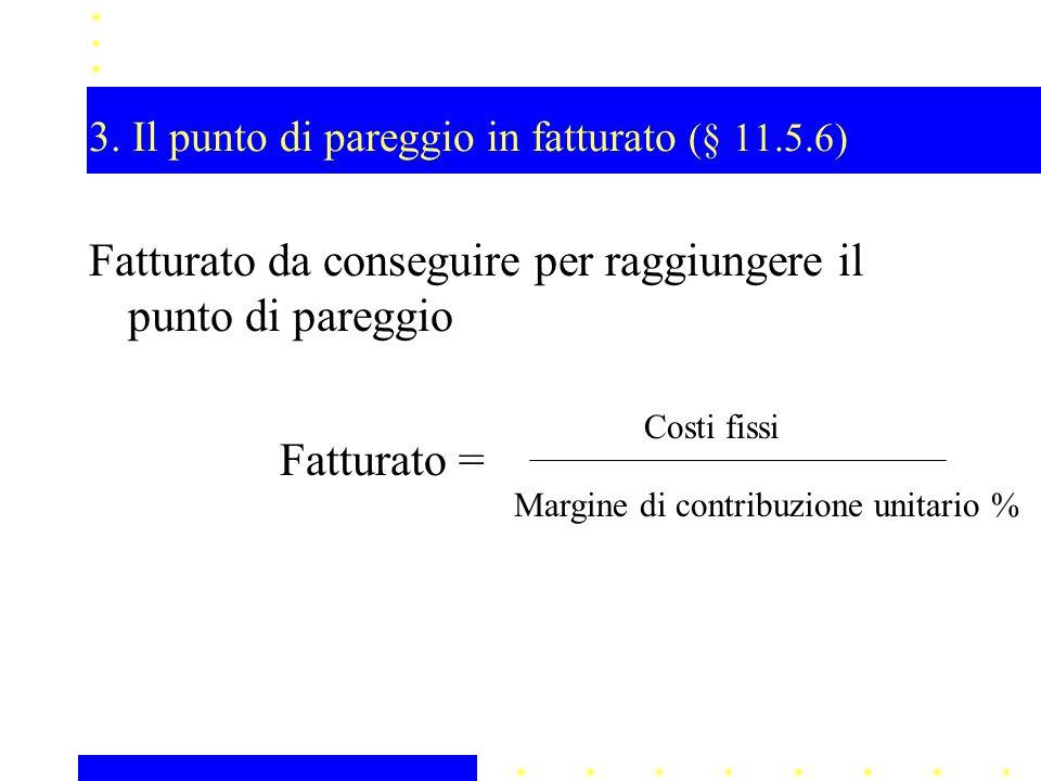 3. Il punto di pareggio in fatturato (§ 11.5.6) Fatturato da conseguire per raggiungere il punto di pareggio Fatturato = Costi fissi Margine di contri