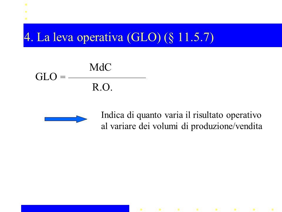 4. La leva operativa (GLO) (§ 11.5.7) GLO = MdC R.O. Indica di quanto varia il risultato operativo al variare dei volumi di produzione/vendita