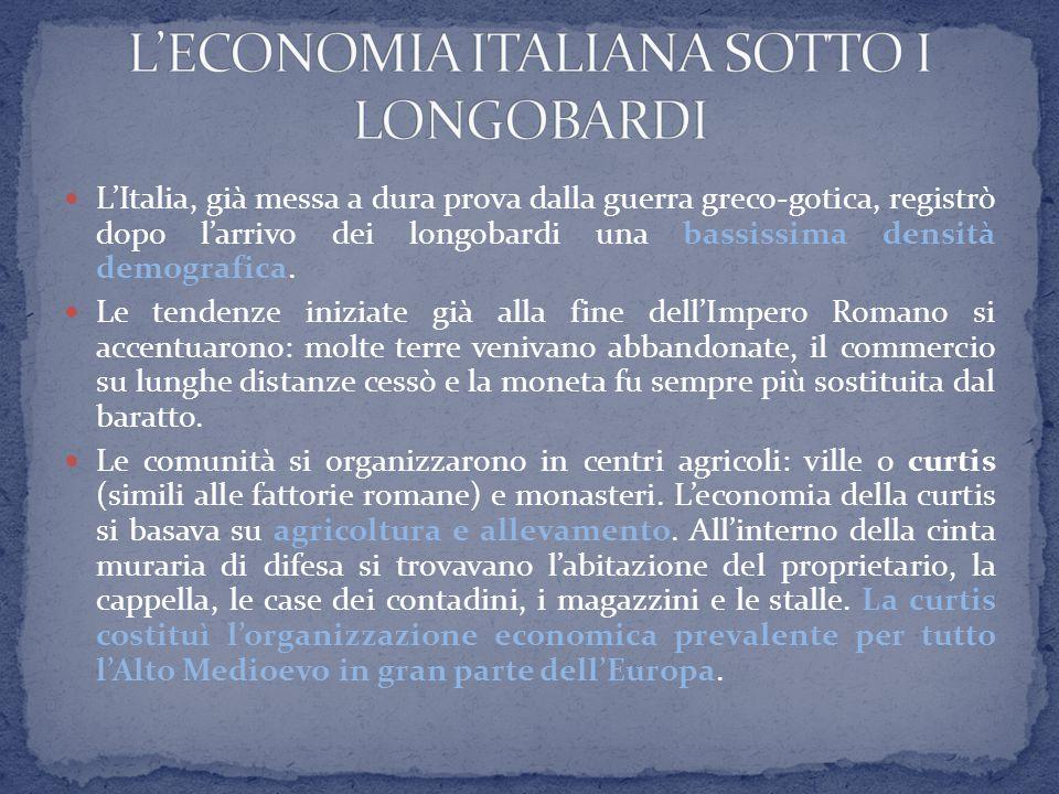 L'Italia, già messa a dura prova dalla guerra greco-gotica, registrò dopo l'arrivo dei longobardi una bassissima densità demografica. Le tendenze iniz