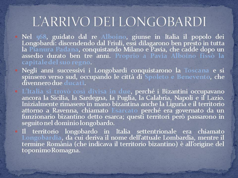 Nel 568, guidato dal re Alboino, giunse in Italia il popolo dei Longobardi: discendendo dal Friuli, essi dilagarono ben presto in tutta la Pianura Pad