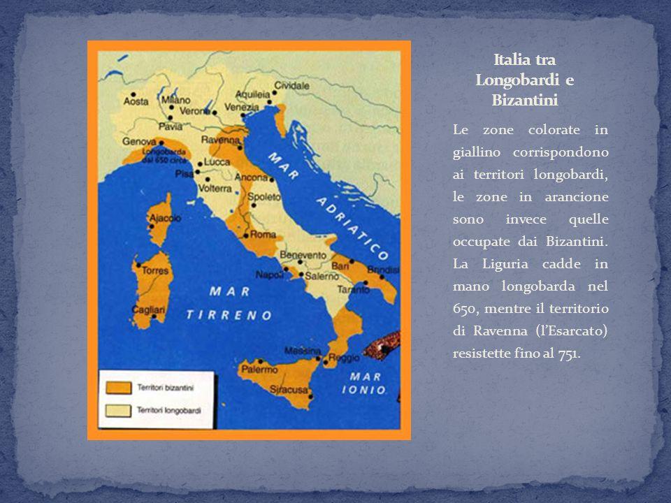 Le zone colorate in giallino corrispondono ai territori longobardi, le zone in arancione sono invece quelle occupate dai Bizantini. La Liguria cadde i