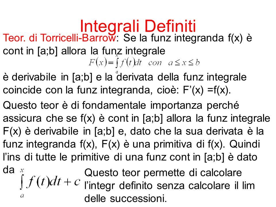 Integrali Definiti Teor. di Torricelli-Barrow: Se la funz integranda f(x) è cont in [a;b] allora la funz integrale è derivabile in [a;b] e la derivata