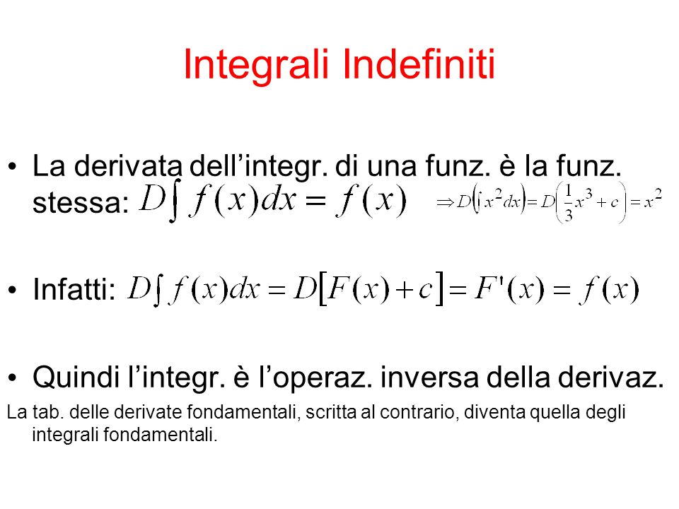 Integrali Indefiniti Posto y = si ha y = F(x) + c.