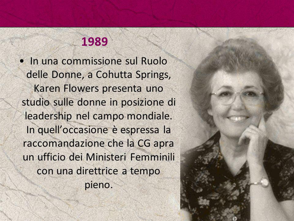 1989 In una commissione sul Ruolo delle Donne, a Cohutta Springs, Karen Flowers presenta uno studio sulle donne in posizione di leadership nel campo m