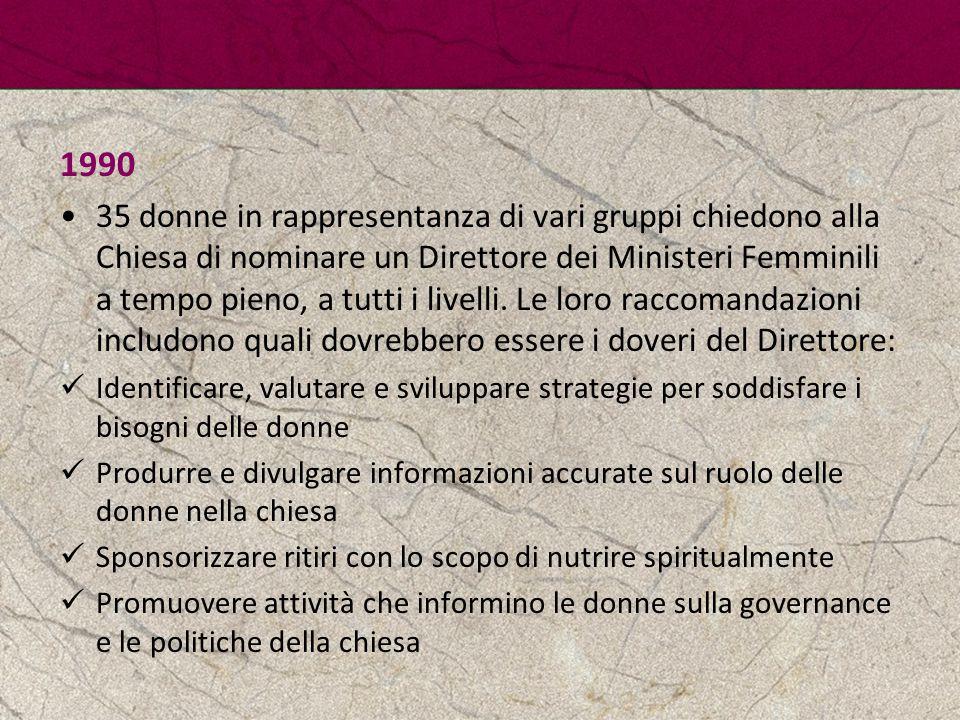 1990 35 donne in rappresentanza di vari gruppi chiedono alla Chiesa di nominare un Direttore dei Ministeri Femminili a tempo pieno, a tutti i livelli.