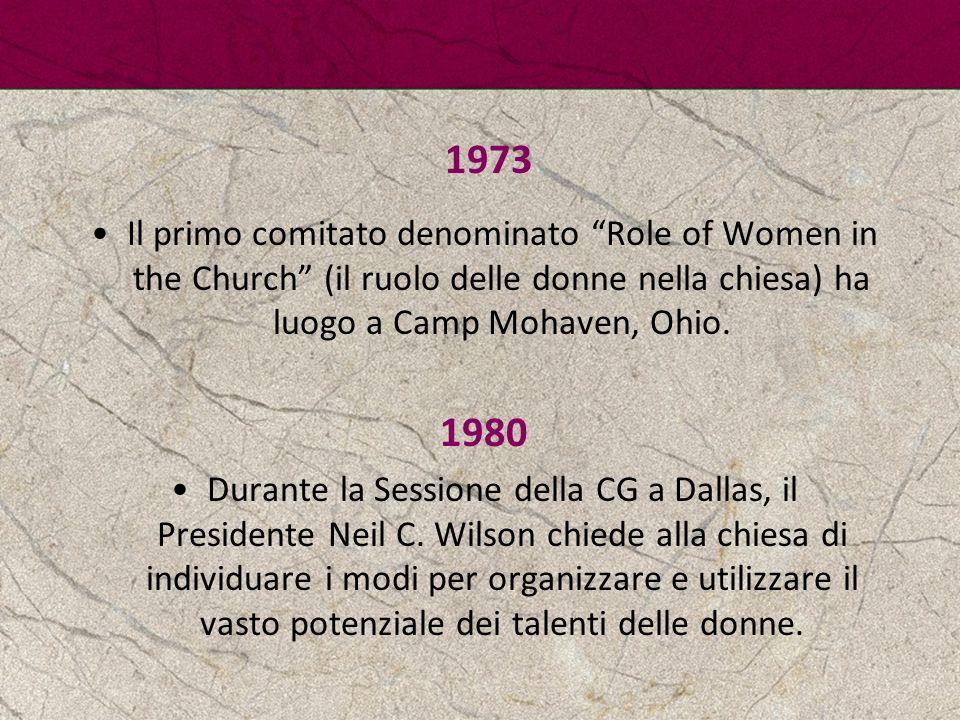 """1973 Il primo comitato denominato """"Role of Women in the Church"""" (il ruolo delle donne nella chiesa) ha luogo a Camp Mohaven, Ohio. 1980 Durante la Ses"""