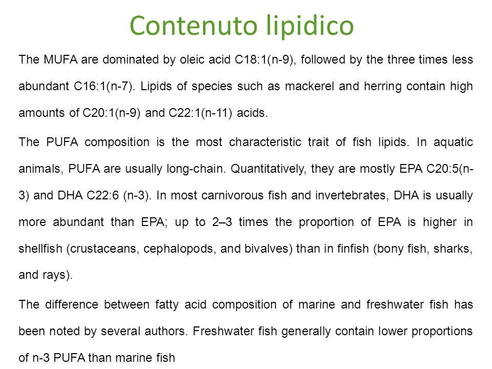 Contenuto lipidico The MUFA are dominated by oleic acid C18:1(n-9), followed by the three times less abundant C16:1(n-7).