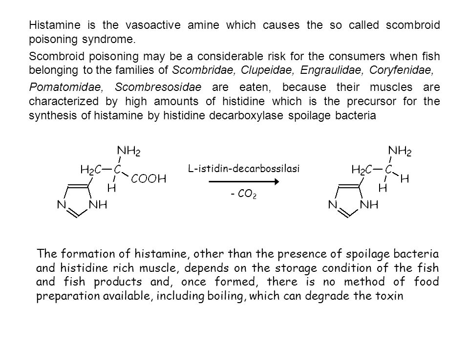 The formation of histamine, other than the presence of spoilage bacteria and histidine rich muscle, depends on the storage condition of the fish and fish products and, once formed, there is no method of food preparation available, including boiling, which can degrade the toxin L-istidin-decarbossilasi - CO 2 Histamine is the vasoactive amine which causes the so called scombroid poisoning syndrome.