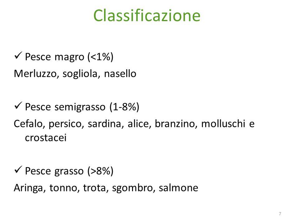 Classificazione 7 Pesce magro (<1%) Merluzzo, sogliola, nasello Pesce semigrasso (1-8%) Cefalo, persico, sardina, alice, branzino, molluschi e crostacei Pesce grasso (>8%) Aringa, tonno, trota, sgombro, salmone