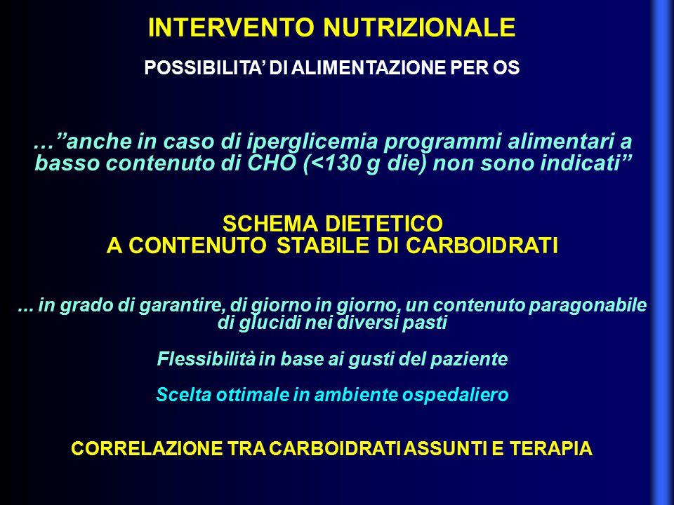 """INTERVENTO NUTRIZIONALE POSSIBILITA' DI ALIMENTAZIONE PER OS …""""anche in caso di iperglicemia programmi alimentari a basso contenuto di CHO (<130 g die"""