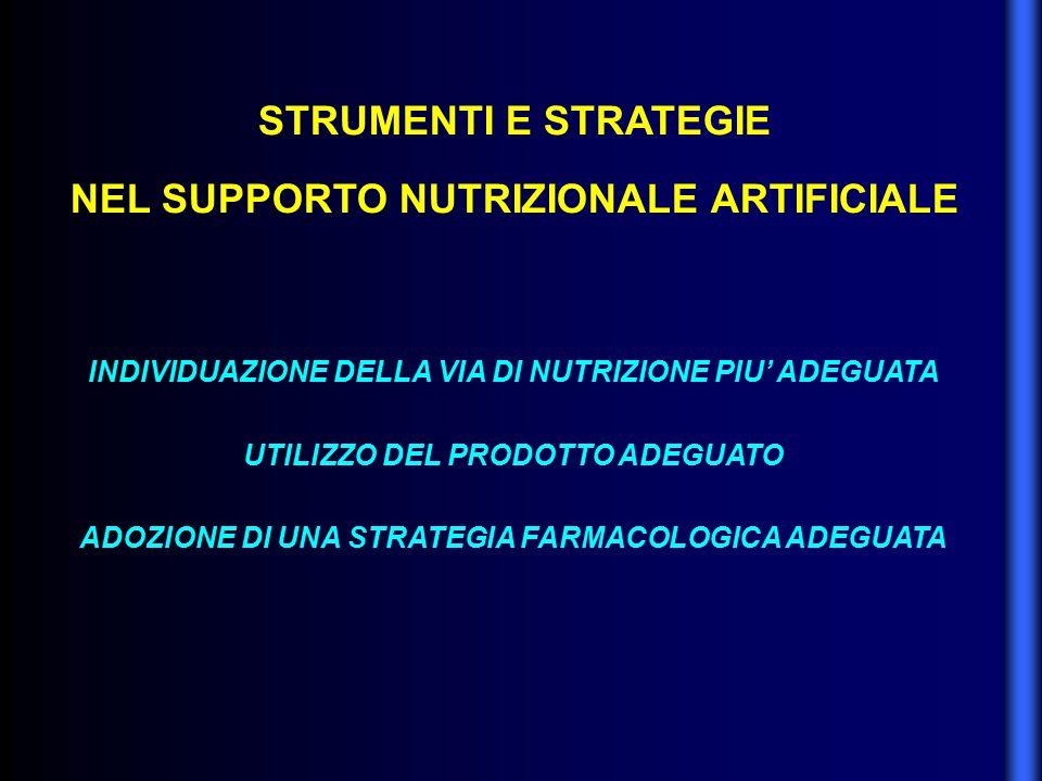 STRUMENTI E STRATEGIE NEL SUPPORTO NUTRIZIONALE ARTIFICIALE INDIVIDUAZIONE DELLA VIA DI NUTRIZIONE PIU' ADEGUATA UTILIZZO DEL PRODOTTO ADEGUATO ADOZIO