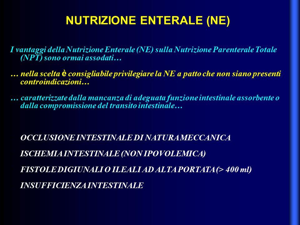 NUTRIZIONE ENTERALE (NE) I vantaggi della Nutrizione Enterale (NE) sulla Nutrizione Parenterale Totale (NPT) sono ormai assodati … … nella scelta è co