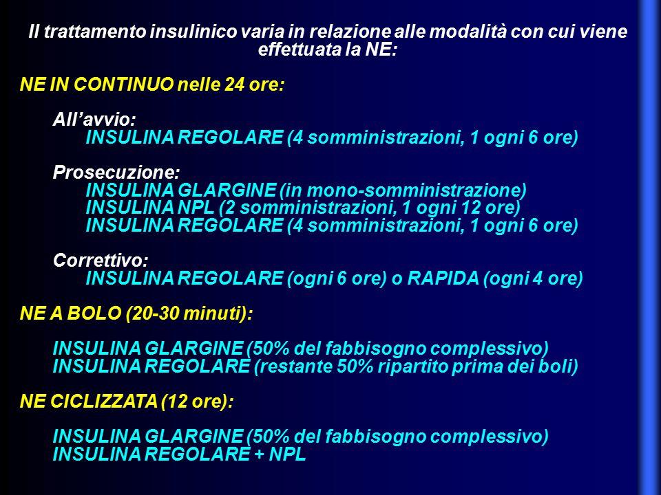 Il trattamento insulinico varia in relazione alle modalità con cui viene effettuata la NE: NE IN CONTINUO nelle 24 ore: All'avvio: INSULINA REGOLARE (