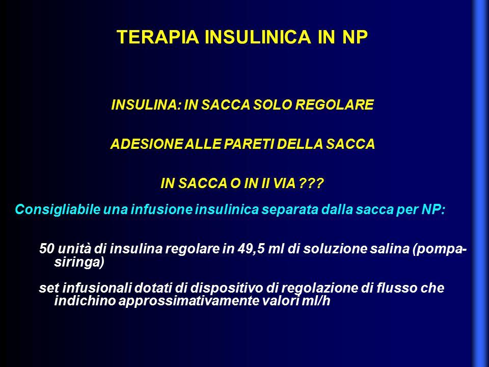 TERAPIA INSULINICA IN NP INSULINA: IN SACCA SOLO REGOLARE ADESIONE ALLE PARETI DELLA SACCA IN SACCA O IN II VIA ??? Consigliabile una infusione insuli