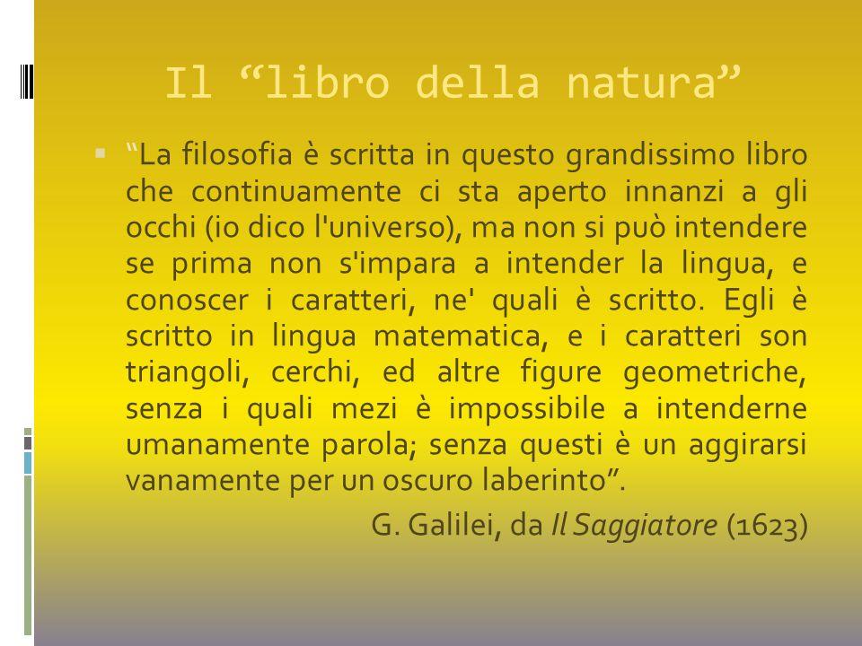 """Il """"libro della natura""""  """"La filosofia è scritta in questo grandissimo libro che continuamente ci sta aperto innanzi a gli occhi (io dico l'universo)"""