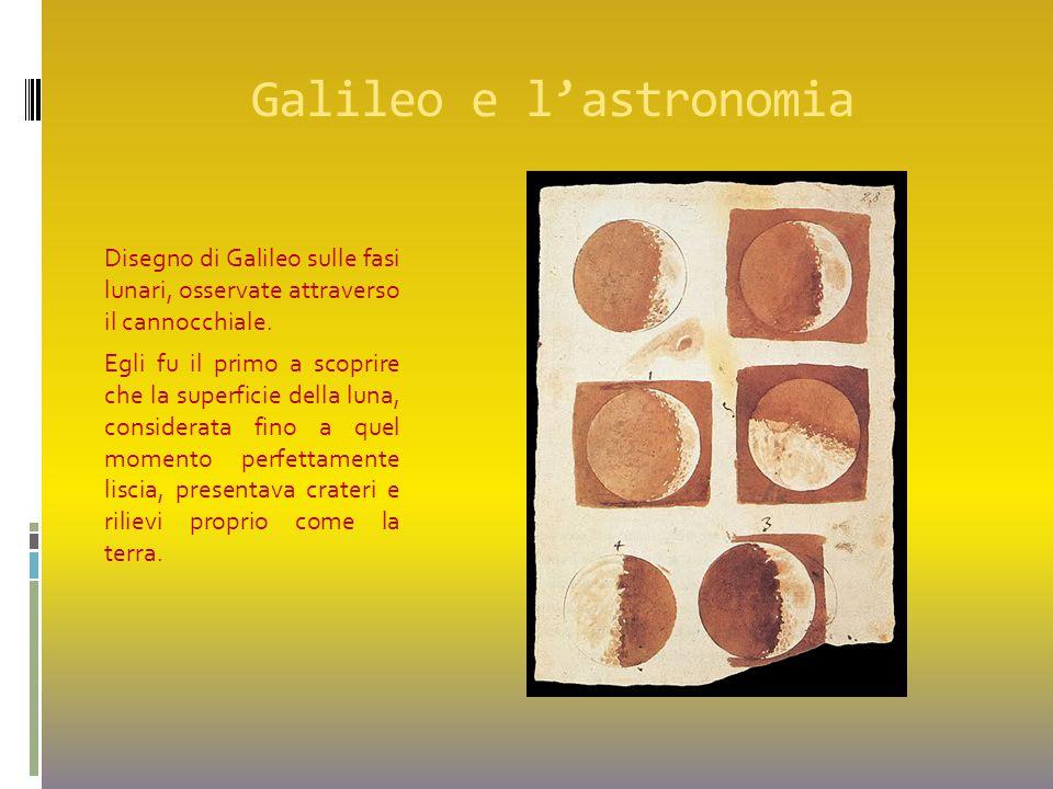 Galileo e l'astronomia Disegno di Galileo sulle fasi lunari, osservate attraverso il cannocchiale. Egli fu il primo a scoprire che la superficie della