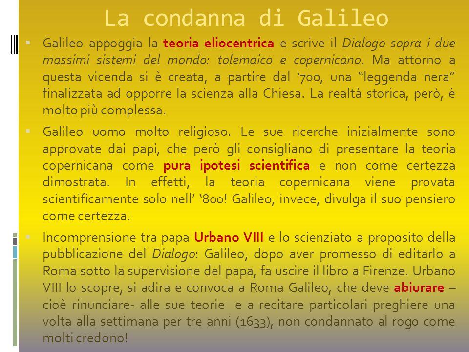 La condanna di Galileo  Galileo appoggia la teoria eliocentrica e scrive il Dialogo sopra i due massimi sistemi del mondo: tolemaico e copernicano. M
