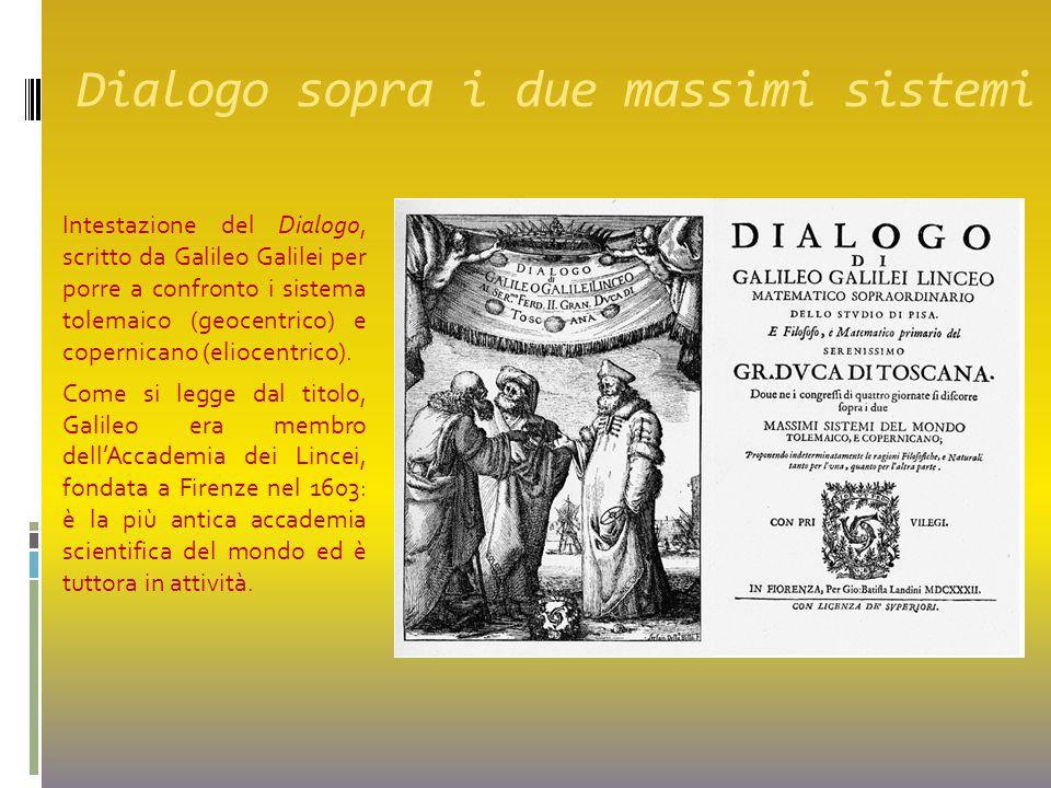 Dialogo sopra i due massimi sistemi Intestazione del Dialogo, scritto da Galileo Galilei per porre a confronto i sistema tolemaico (geocentrico) e cop