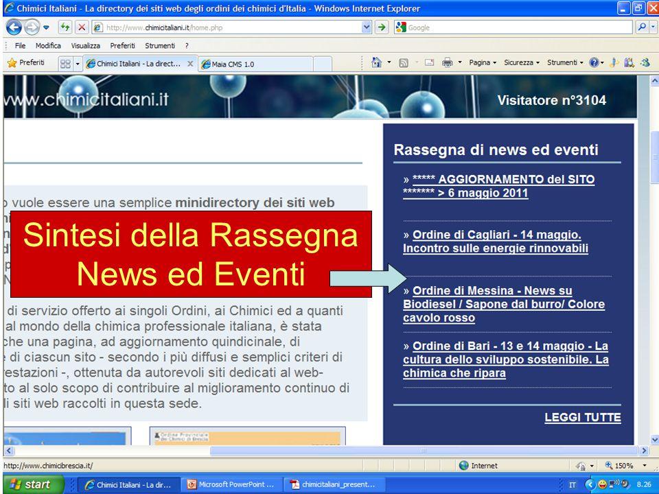 Sintesi della Rassegna News ed Eventi
