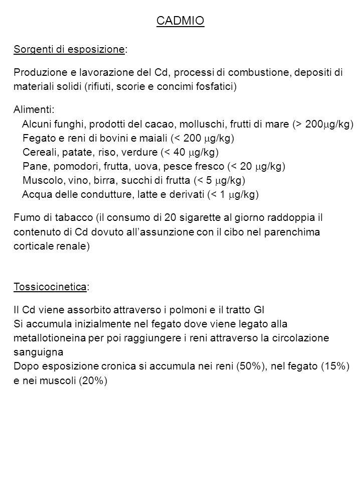 CADMIO Sorgenti di esposizione: Produzione e lavorazione del Cd, processi di combustione, depositi di materiali solidi (rifiuti, scorie e concimi fosf