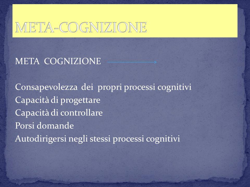META COGNIZIONE Consapevolezza dei propri processi cognitivi Capacità di progettare Capacità di controllare Porsi domande Autodirigersi negli stessi p