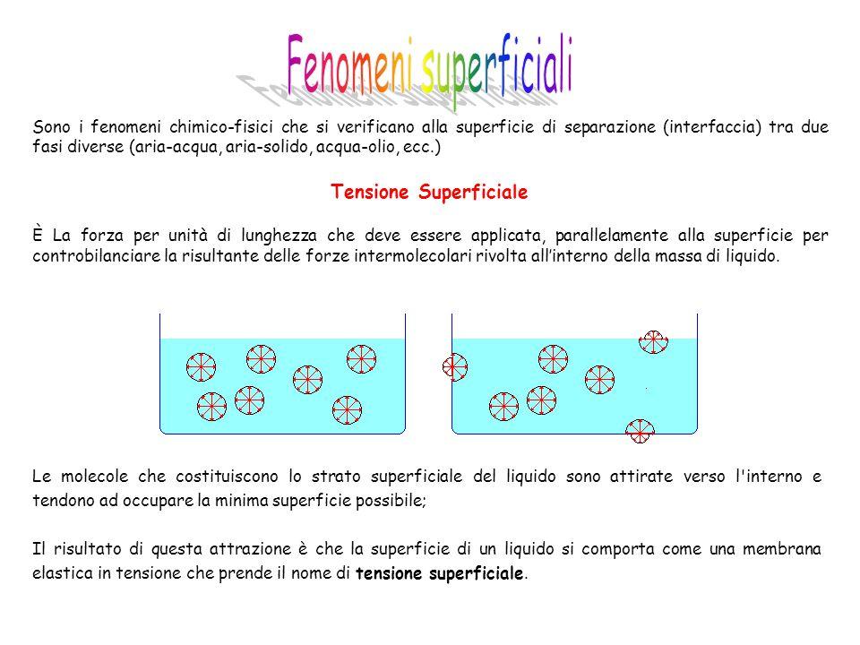 Sono i fenomeni chimico-fisici che si verificano alla superficie di separazione (interfaccia) tra due fasi diverse (aria-acqua, aria-solido, acqua-oli