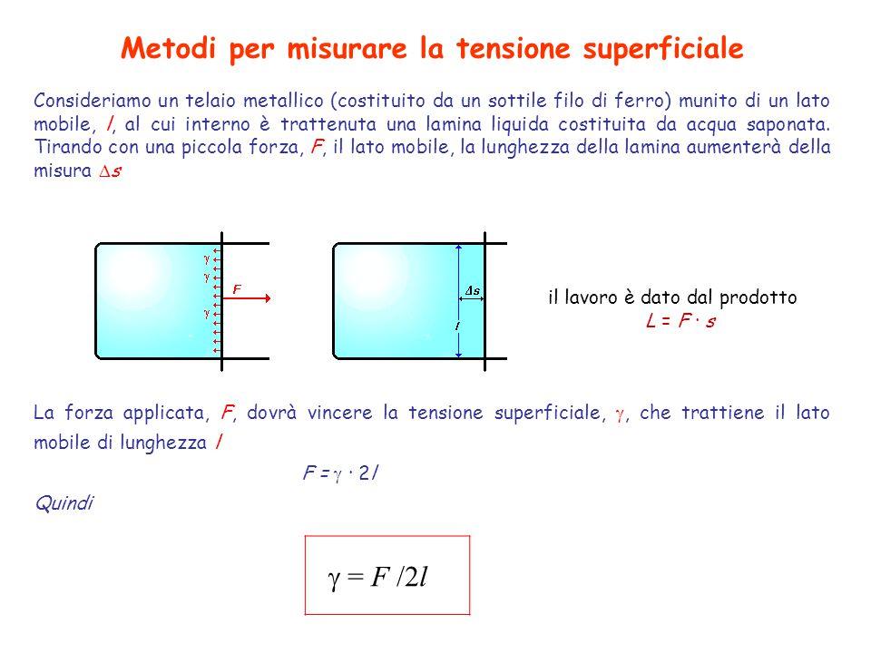 Metodi per misurare la tensione superficiale Consideriamo un telaio metallico (costituito da un sottile filo di ferro) munito di un lato mobile, l, al