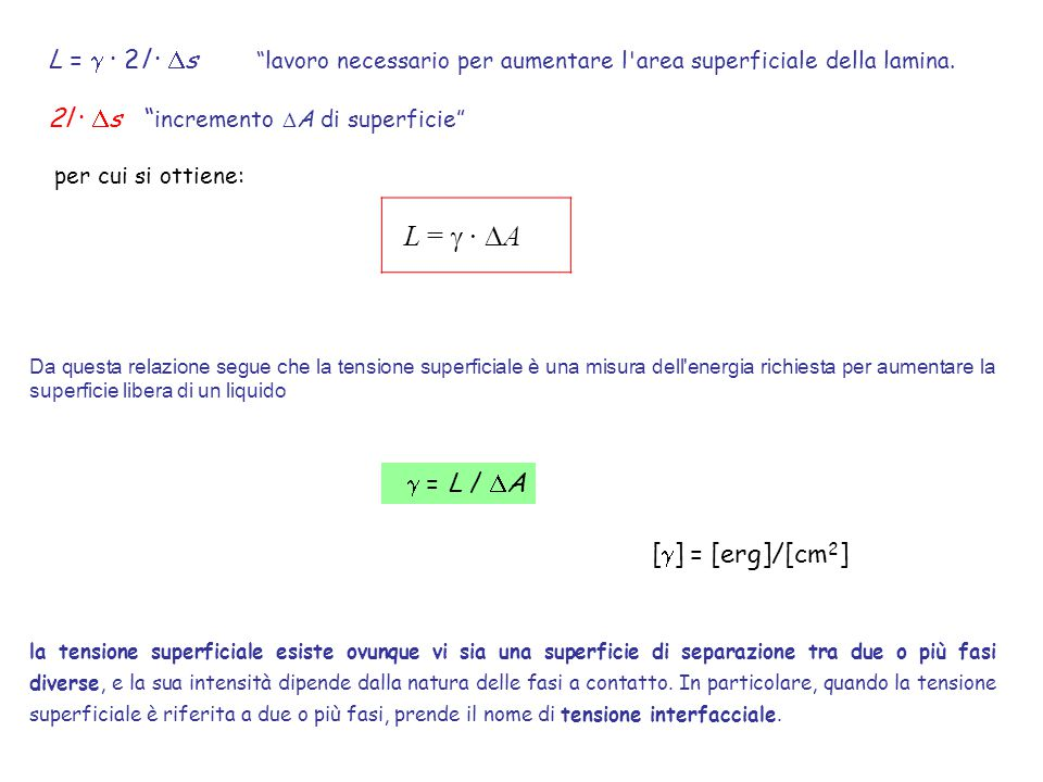 """L =  · 2l ·  s """"lavoro necessario per aumentare l'area superficiale della lamina. 2l ·  s """" incremento  A di superficie"""" per cui si ottiene: L = """