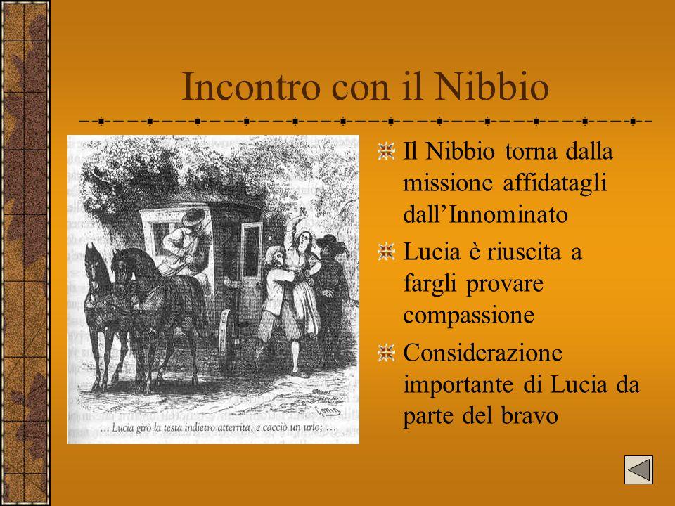 Incontro con il Nibbio Il Nibbio torna dalla missione affidatagli dall'Innominato Lucia è riuscita a fargli provare compassione Considerazione importa